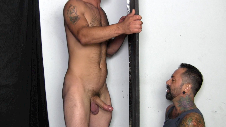 Bisexual Sucking Through Gloryhole