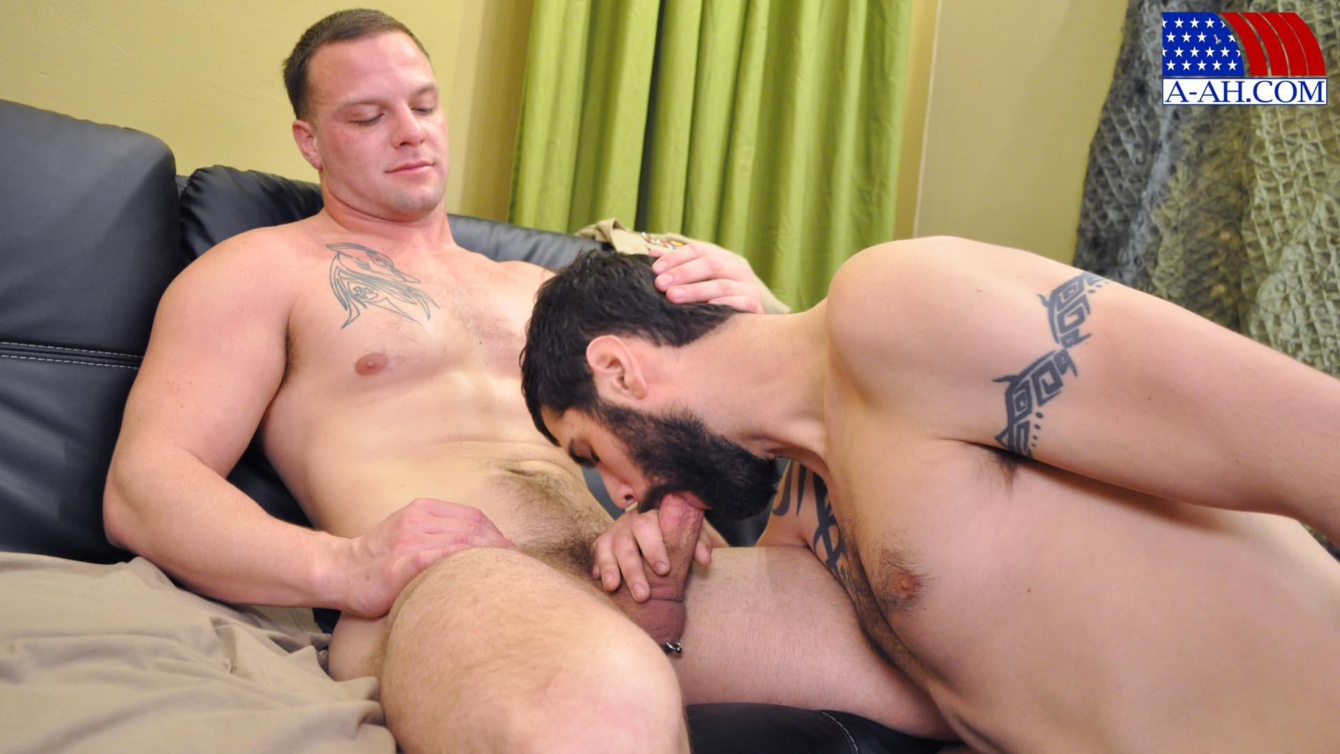 All-American-Heroes-PRIVATE-ANTONIO-AND-NAVY-CORPSMAN-LOGAN-Military-Guys-Sucking-Cock-Amateur-Gay-Porn-10 US Navy Corpsman Trades Blowjobs With A British Army Private