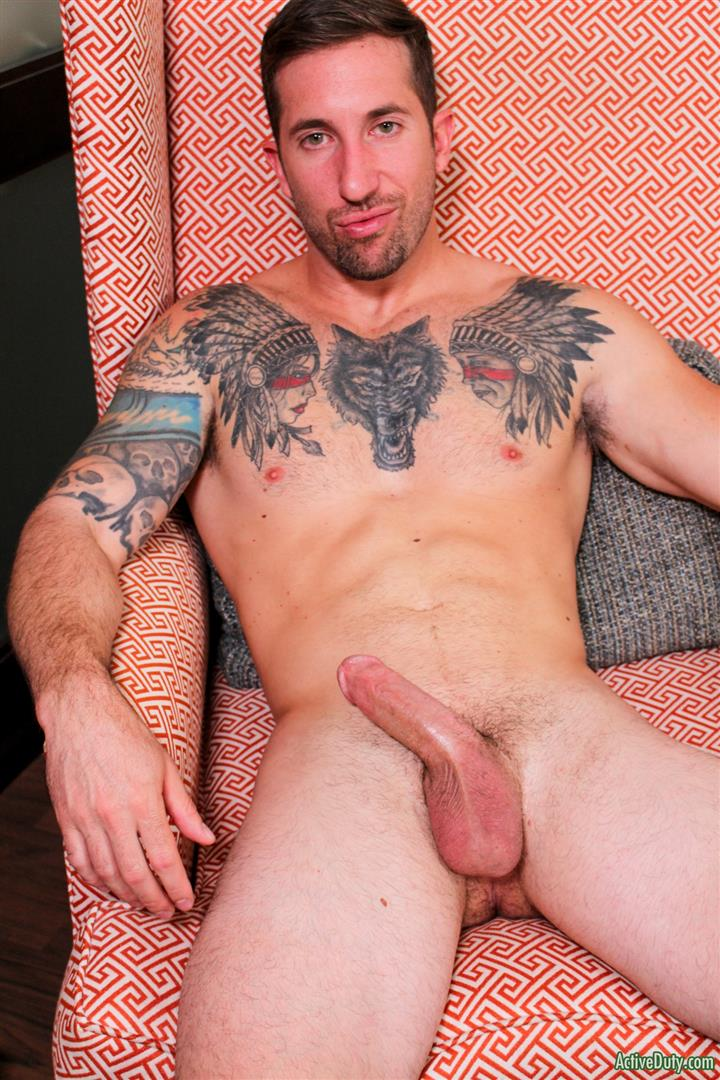 Active-Duty-Brad-Powers-Naked-Army-Soldier-With-A-Big-Cock-Amateur-Gay-Porn-12 Tatted Hung Army Soldier Brad Powers Shoots A Big Load Of Cum