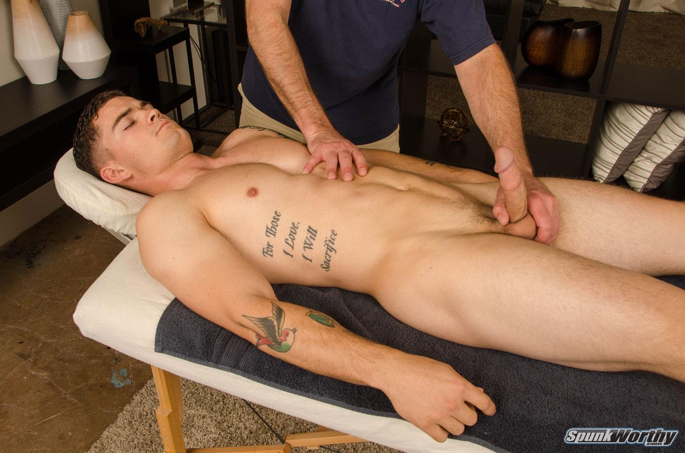 SpunkWorthy-Curtis-Marine-Massage-With-Happy-Ending-15 Beefy Straight Marine Gets A Gay Massage With A Happy Ending