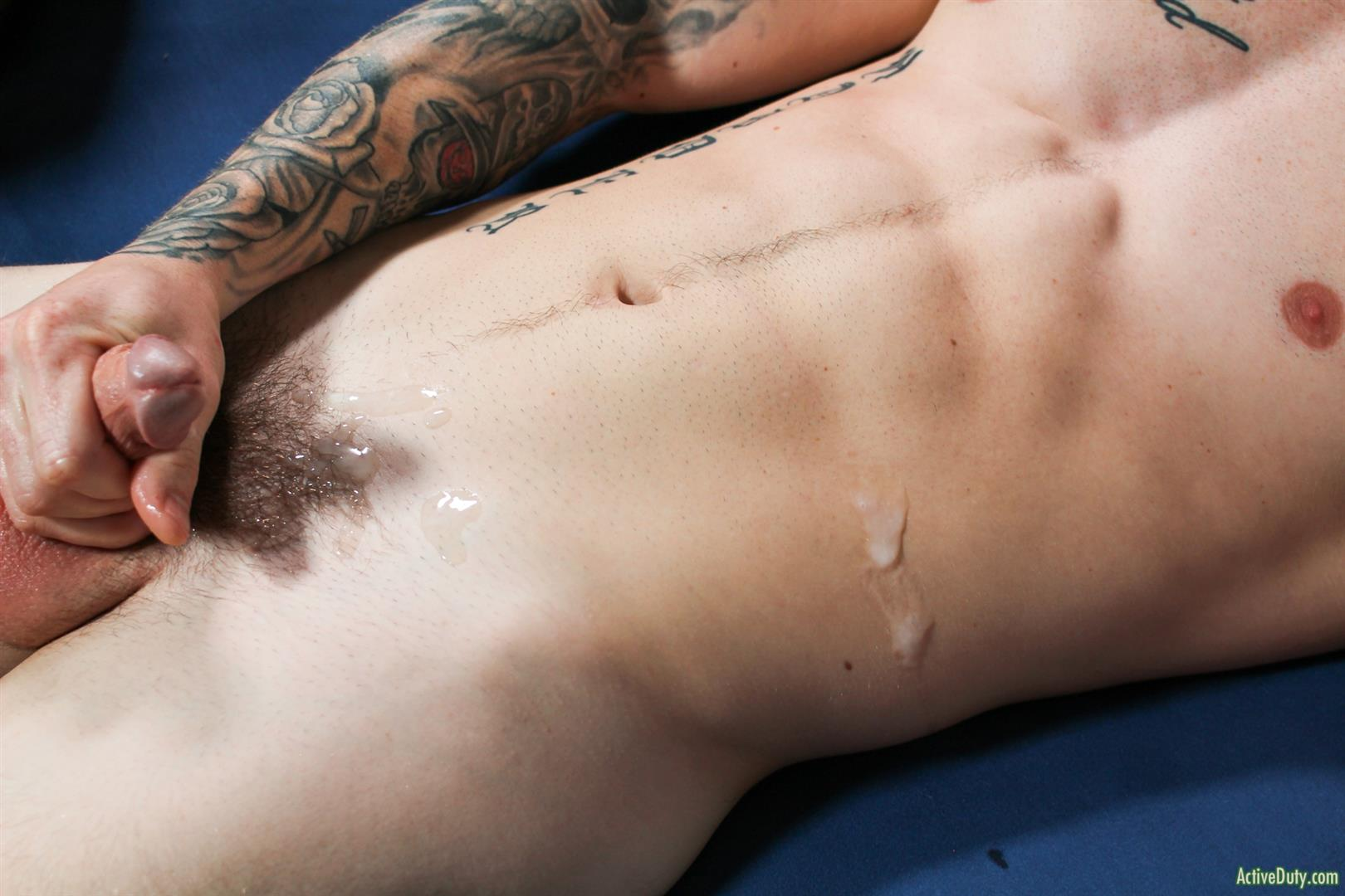 Active-Duty-Quentin-Gainz-and-Spencer-Laval-Military-Guys-Bareback-Sex-Video-15 Straight Muscular Military Guys First Bareback Fuck Session
