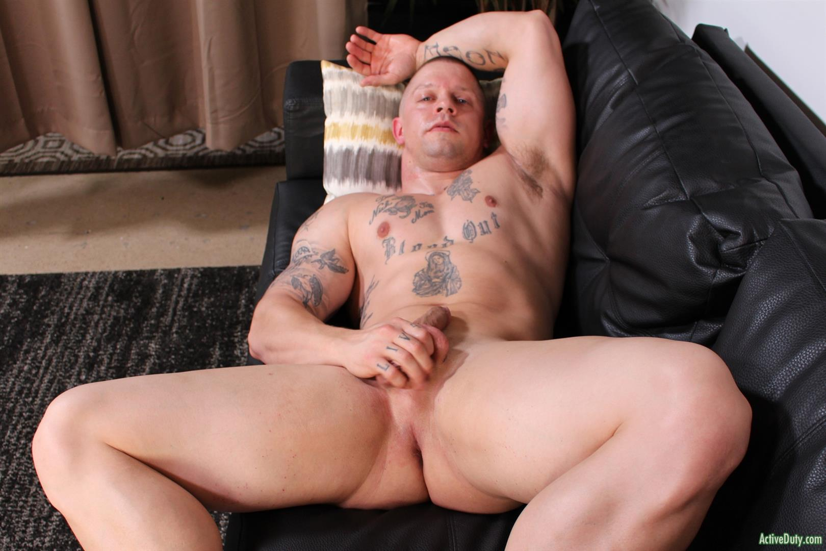 Active-Duty-Owen-Steal-Naked-Muscular-Marine-Jerking-Off-Big-Cock-12 Naked Hung Muscular Marine Jerks His Big Hard Cock