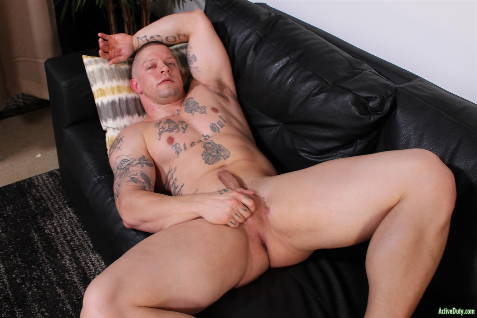 Active-Duty-Owen-Steal-Naked-Muscular-Marine-Jerking-Off-Big-Cock-13 Naked Hung Muscular Marine Jerks His Big Hard Cock
