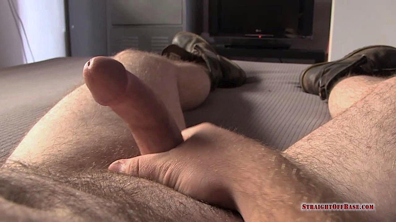 Straigth-Off-Base-Naked-Marine-Jerking-Off-Video-18 Marine Corporal Strokes His Straight Redneck Cock