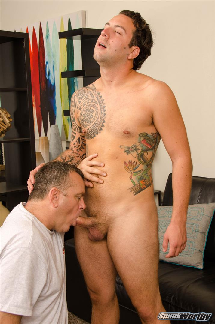 SpunkWorthy-Naked-Marine-Getting-First-Blowjob-From-Guy-11 Straight Marine Gets His First Ever Blowjob From Another Man