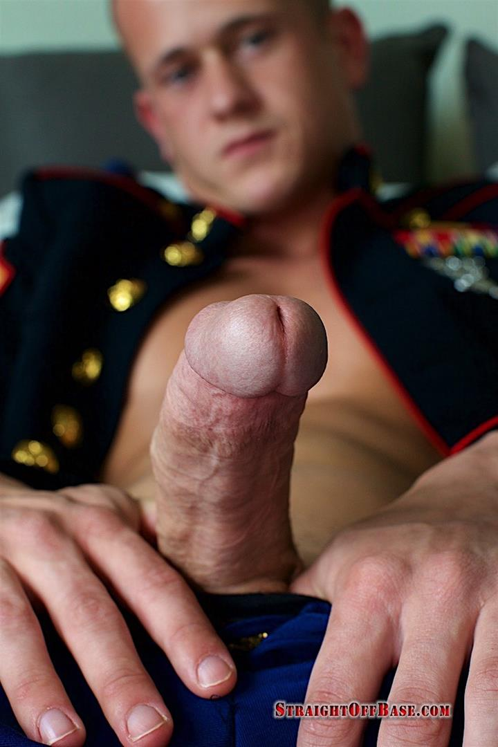 Straight-Off-Base-Jackson-Big-Dick-Naked-Marine-Jerking-Off-10 Marine Sergeant Jerking His Big Cock In His Dress Blues
