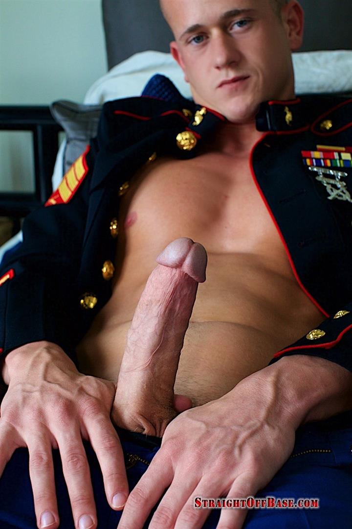 Straight-Off-Base-Jackson-Big-Dick-Naked-Marine-Jerking-Off-12 Marine Sergeant Jerking His Big Cock In His Dress Blues