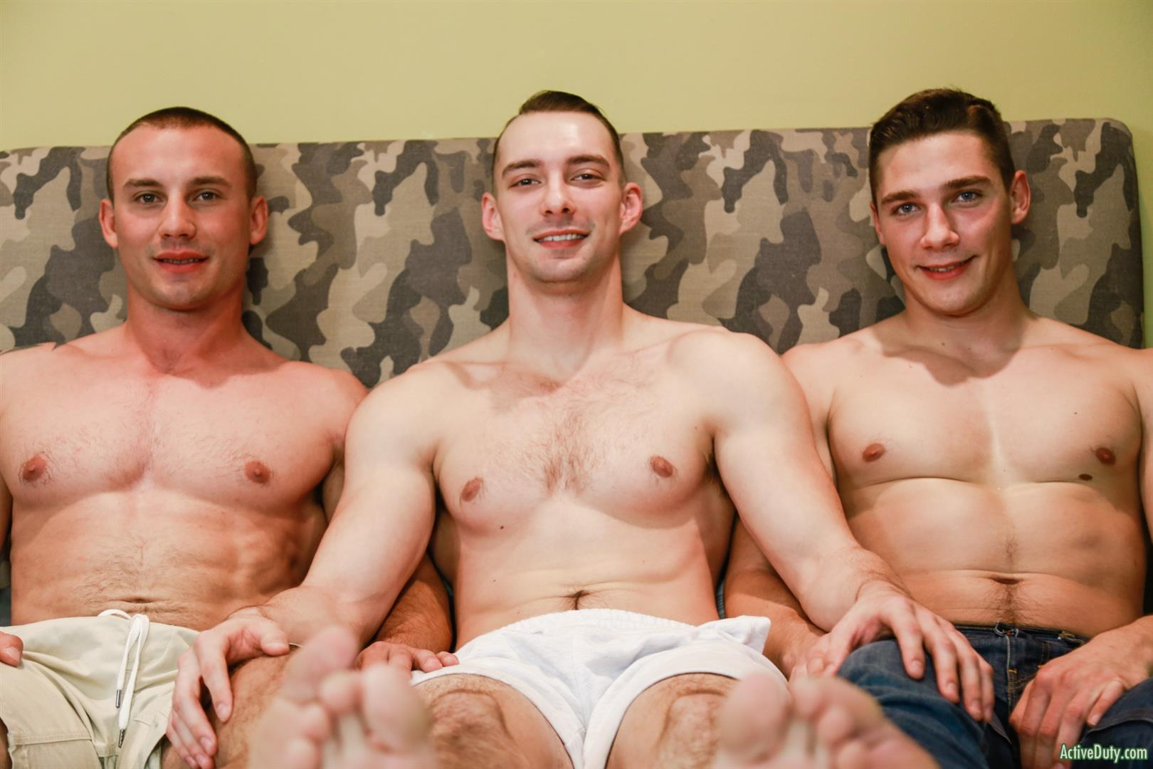 Active-Duty-Marc-Montana-and-Spencer-Laval-and-Johnny-B-Naked-Marines-Bareback-06 Hung Muscular Marines Bareback Threeway Fuck