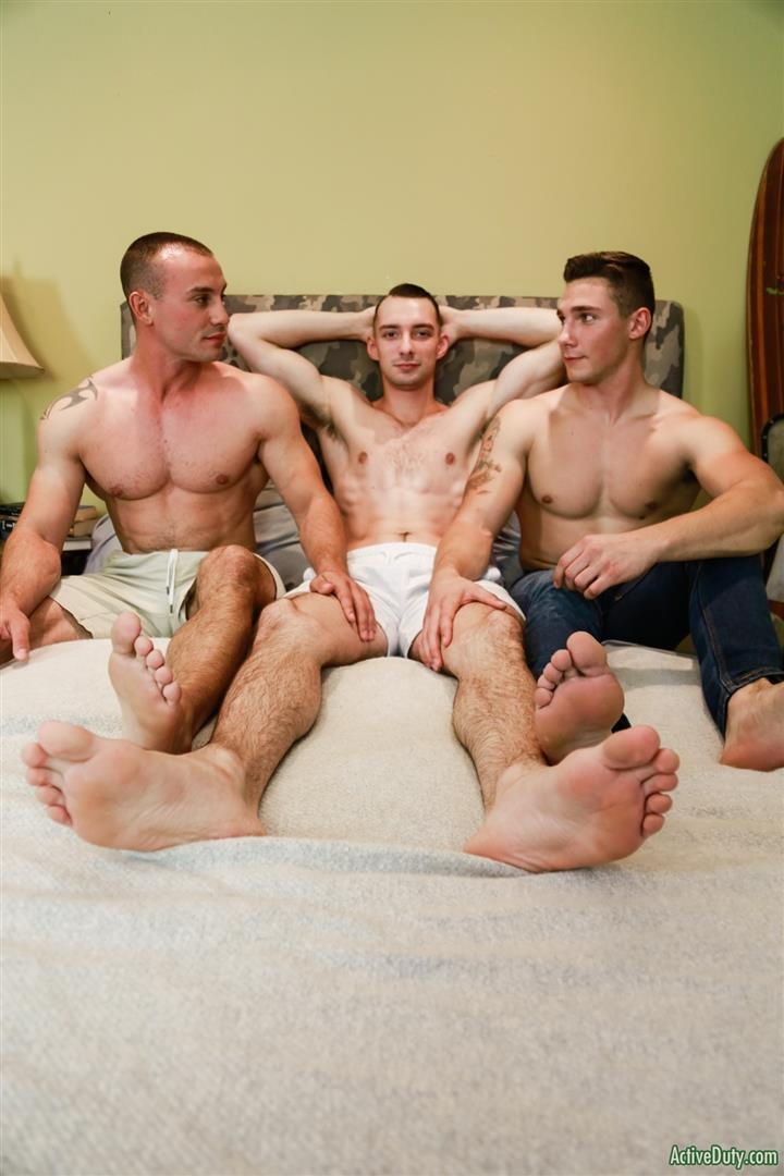 Active-Duty-Marc-Montana-and-Spencer-Laval-and-Johnny-B-Naked-Marines-Bareback-08 Hung Muscular Marines Bareback Threeway Fuck